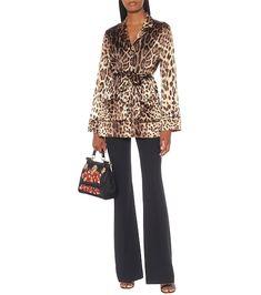 Beige and black leopard-print stretch-silk satin pajama top Satin Top, Silk Satin, Leopard Jacket, Costumes For Teens, Leopard Print Top, Beige, Tops, Pajama Top, Search