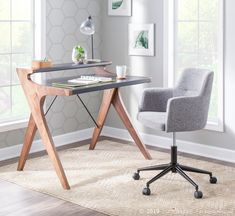 Enrich your office space with the unique, contemporary design of the Lumisource Archer Desk. Crafted from walnut wood with a neutral-colored top, this two-tier desk boasts an alluring aesthetic that is ideal for large or small spaces. Office Chairs Online, Home Office Chairs, Home Office Decor, Home Decor, Contemporary Office Chairs, Modern Chairs, Upholstered Swivel Chairs, Grey Desk, Grey Wood