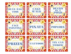 """Free Printable Carnival Signs 