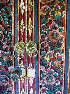 Carved and painted Bali door detail