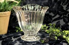 Vintage Glass Pedestal Dish  Fluted Glass with by PearlsParlor