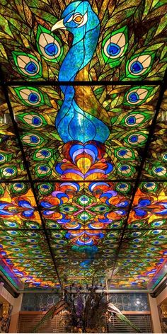 The Peacock Room, Davenport Hotel, Spokane, Washington; Constructed in the Davenport Hotel was completely restored in Above is the stained glass ceiling in The Peacock Room Lounge. Leaded Glass, Stained Glass Art, Stained Glass Windows, Window Glass, Peacock Room, Peacock Art, Peacock Feathers, Peacock Colors, The Peacock