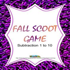 Your students will have so much fun playing this fun and exciting game that gets them out of their seats.  You could also use the cards at a math center along with the fun candy corn manipulatives.$  You can also get this and other games in our Fall Fun Bundle. #math #TPT #teacherspayteachers #Subtraction to 10 #education #learning #teaching #game #Fall