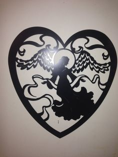 Hey, I found this really awesome Etsy listing at https://www.etsy.com/listing/183401288/angle-heart-metal-wall-art