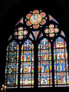 Stained glass on window of cathedral in Strasbourg, France