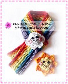 Crochet Colorful RAINBOW Sun and Cloud Scarf PDF Pattern Boutique Design -