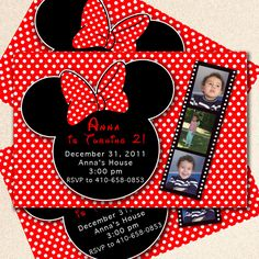 Printable Personalized Minnie Mouse Inspired Birthday Party Card Photo Invitations Red Black White Baby Shower Digital 1st 2nd 3rd. $12.99, via Etsy.
