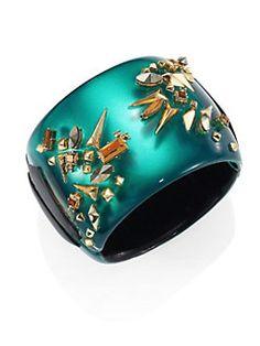 Alexis Bittar - Golden Studded Lucite Hinge Cuff Bracelet