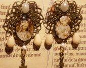 """Boucles d'oreille """"Tableau d'ivoire"""" - Art du Moyen Âge et Bronze : Boucles d'oreille par le-reliquaire sur ALittleMarket"""