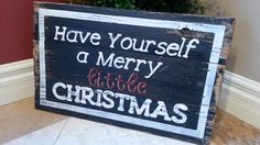 Hand painted Christmas sign on salvaged wood