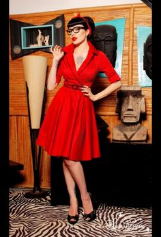 """Haunted Housewife"" Dress in Red with Black from Deadly Dames"