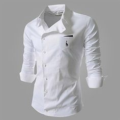 Men's Casual Slant Buckle Deer Embroidery Frock Shirt - USD $ 13.33