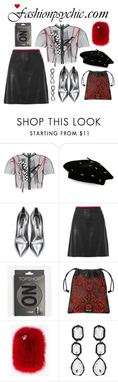 """No Promises"" by fashionpsychic on Polyvore featuring Dilara Findikoglu, Steve Madden, Casadei, Gucci, Topshop, Prada, Wild & Woolly, AMBUSH, black and red"
