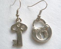 Lock and Key Earrings by bluewhitewear on Etsy,