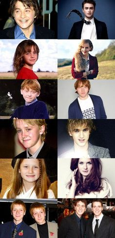 The Harry Potter cast young and grown up