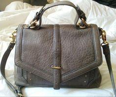 975f7ac07a9d Tory Burch 797 Porcini Gray Textured Leather Crossbody Satchel Bag gold  medium  ToryBurch  Satchel