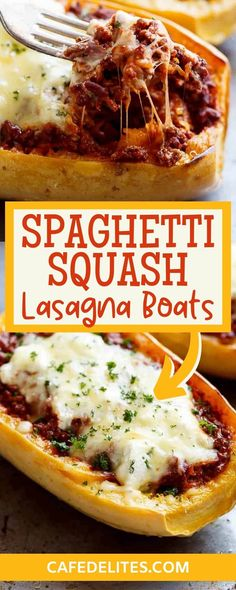 Spaghetti squash lasagna boats are an easy, low-carb answer to your lasagna-loving hearts! Layers of spaghetti squash, creamy ricotta, and melted mozzarella cheese, with the option of a quick bolognese sauce or a slow cooker bolognese, you will love these! These Spaghetti Squash Lasagna Boats will definitely be your go-to recipe for low-carb lasagna! Easy Asian Recipes, Easy Dinner Recipes, Dessert Recipes, Easy Food To Make, Quick Easy Meals, Slow Cooker Bolognese, Bolognese Sauce, Pumpkin Recipes, Fall Recipes