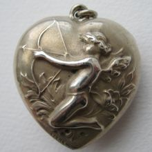 Antique Victorian Sterling Cupid Puffy Heart Pendant or Charm