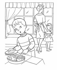 Thanksgiving Dinner Coloring Page Sheets Boy Sneaking Some Pie Pages Including Family Scenes Turkeys Cornucopia And Other