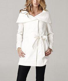 Neslay Paris Ivory Wrap Coat