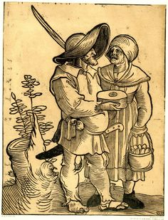 1521 - Formerly attributed to Sebald Beham, attributed to Hans Weiditz - Two peasant on the way to the market; a female figure at right holding a basket with eggs; a barefooted male figure at centre, in profile to right, wearing a large hat and holding a cheese. 1521 Woodcut
