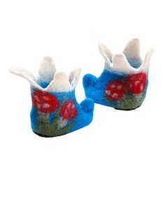 Blue Mushroom Wool Booties for your little gnome...