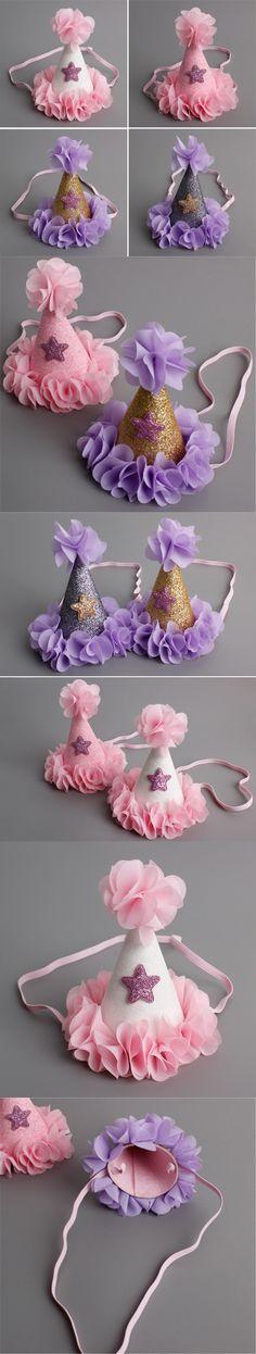 Mini Felt Glitter Pretty Flowers Crown with Cute Stars Headband Slim Hairband For Baby Girls Birthday Party DIY Hair Accessories $2.2