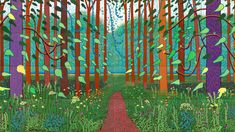 David Hockney - tree painting - Choose your own style David Hockney Prints, David Hockney Artwork, David Hockney Landscapes, Jeff Koons, Landscape Art, Landscape Paintings, Art Paintings, Pop Art Movement, Spring Tree