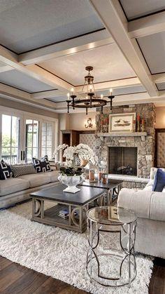 Luxury Interior Design Ideas – via Houzz - Best Home Deco Chic Living Room, Home Living Room, Living Room Designs, Living Room Decor, Cozy Living, Small Living, Apartment Living, Living Room Ceiling Ideas, Decor Room