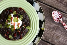 It's hearty, thick, and eminently spoonable; soft black beans, fragrant garlic, sweet bell peppers, and tiny tender cubes of roasted sweet p...