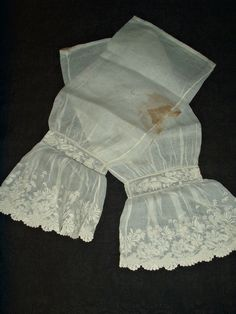 "Antique Mid Victorian 1860's Civil War Pair Whitework Embroidery Under Sleeves | eBay seller maklinens, completed hand stitched with one seam construction, slights ruffled cuffs measure 7"" wide, cuff edge, at the wrist - 19"" around; width at top of sleeve: 8"" (16""circumference); sleeve length: 20-1/4"""