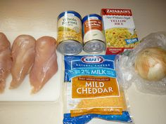 Creamy Chicken and Rice: Put 4 boneless skinless chix breast in sprayed crock pot. Add 1 lg Vidalia onion & 1 can cream of chix soup. Cook 3-4 hrs on high or 6-7 hrs on low. When chix done add 8 oz box Cooked Zatarain's Yellow Rice Mix,   1 cup shredded cheddar cheese, &  1 can drained corn. Cook a few min for corn & cheese to melt. gm
