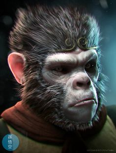 I like how the glow of the blue light is reflected and translated on the monkey's left side of his face. Looks very realistic/