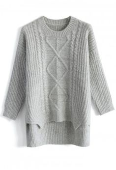 Soufflé Cable Knit Sweater in Grey - Tops - Retro, Indie and Unique Fashion