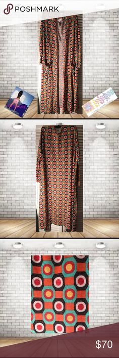 Lularoe Sara Duster Size X-Large NWOT Lularoe Sara Duster Jacguard Pattern Size XL NWT . X-Large Equals Size 118-20. Super Comfortable. perfect For Fall! 🚫trades. Please ask all questions prior to buying LuLaRoe Jackets & Coats Vests