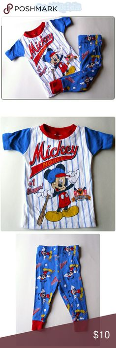 2 PIECE SET MICKEY BASEBALL PJS NWOT! Mickey short sleeve and pant pj set. Too cute! 100% cotton Pajamas Pajama Sets