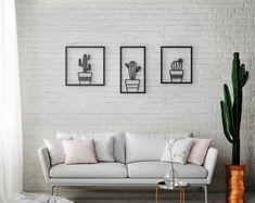 Wall Art Set of Cactus Wall Art, Laser Cut Metal, Black Metal Art, Interior Decor, Wall Decor Set