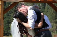First kiss as husband and wife.   Wedding photography. Vintage and rustic wedding. More at http://captainandclark.com