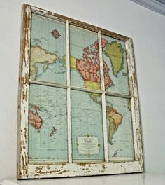 Old Window Frame + Free Printable Vintage Map= Instant Wall Art !