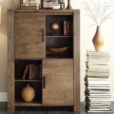 KITCHEN STORAGE - Myra II Modern Rustic Walnut Driftwood High Side Board Buffet Storage Cabinet