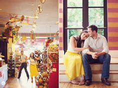 Engagement session in a toy store