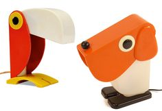 Toucan lamp by Ferrari & dog lamp by Fernando Cassetta for Tacman, 1970s
