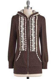 Ever So Soften Hoodie in Brown, ModCloth. Could totally add embellishments to any hoodie though really easily and it would only take an afternoon.