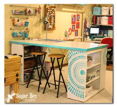 I am loving this craft room desk at Sugar Bee Crafts that her husband made for her!  SO GREAT!