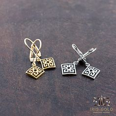 Greek key earrings
