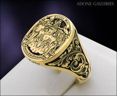 Adone Galleries, 18k yellow Gold Custom engraved coat of arms crest