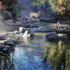 Michael Godfrey - WetCanvas: Online Living for Artists Watercolor Landscape, Landscape Art, Landscape Paintings, Watercolor Paintings, River Painting, Painting & Drawing, Seen, Paintings I Love, Pastel Art