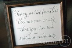 Today as Two Families Become One, Choose a Seat Not a Side - Wedding Reception Open Seating Signage - Matching Numbers Available SS01 on Etsy, 67:52kr