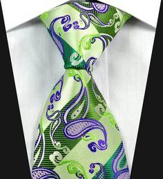 New Paisleys Stripes Green Purple JACQUARD WOVEN 100% Silk Men's Tie Necktie in Clothing, Shoes & Accessories, Men's Accessories, Ties | eBay