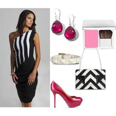 """""""Fabulous Summer Style with Perlae Couture"""". Transform your traditional view of the color block dress with Perlae Couture's Black and White Striped Cocktail Dress. Slip into a pair of this stunning raspberry pink pumps from Sergio Rossi and Ippolita teardrop earrings. Finish off your look with this Saint Laurent Leather shoulder bag and Dior Rosy Glow Blush and Voila! Summertime fabulous! #colorblock #dress #springfashion #Cocktal dress"""
